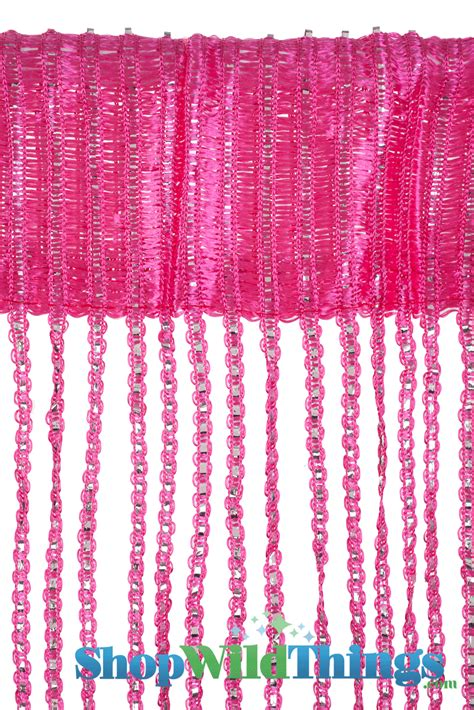 Pink Sparkle Curtains Pink String Curtain With Silver Thread And Tension Rod