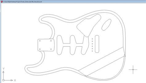 dxf templates dxf file of 60s fender strat autocad 3d cad model