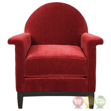 Plush Chairs by Sheelah Bold Cherry Accent Chair In Plush Chenille