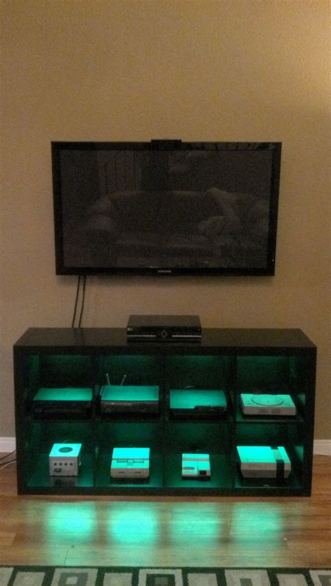 led lights for man cave video game console cabinet with led lights via reddit user