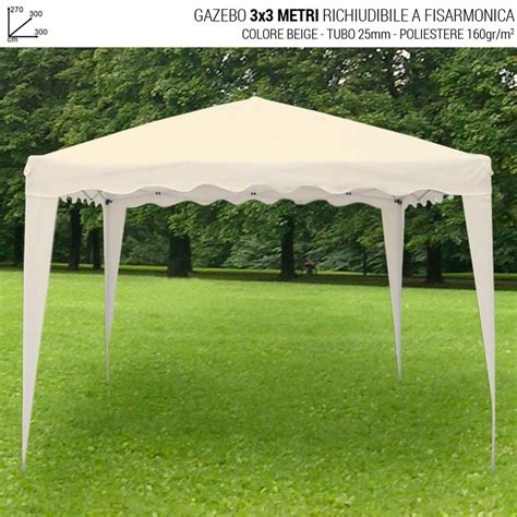 gazebo richiudibili gazebo 3x3 mt richiudibile a fisarmonica beige righe