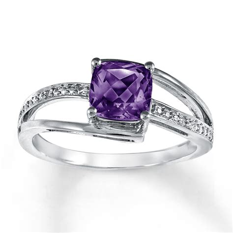 amethyst ring accents sterling silver