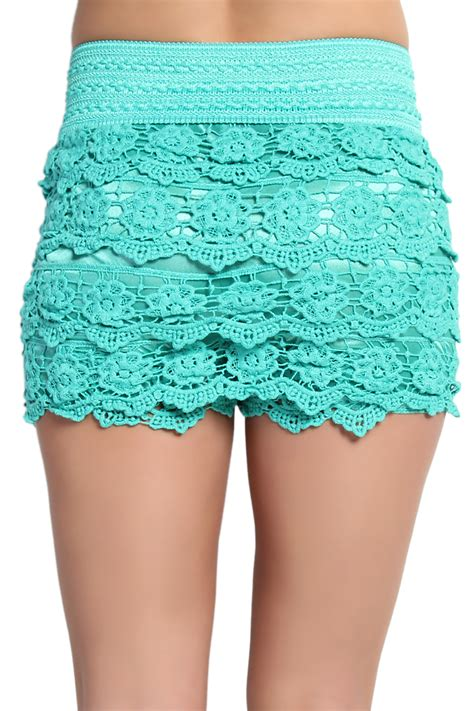 Lovely Lace Detail Shorts by Themogan Lovely Tiered Crochet Lace Stretch Waist Skort Shorts
