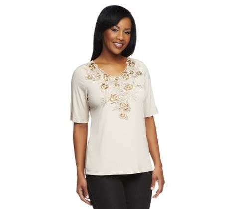 susan graver liquid knit susan graver liquid knit sleeve top with floral lace