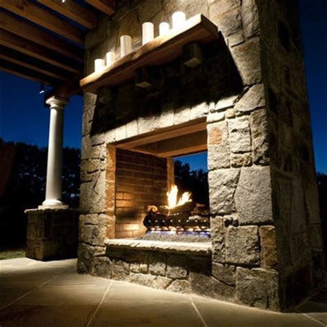 Outdoor Two Sided Fireplace sided outdoor fireplace gardens and landscaping