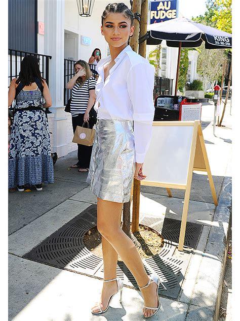 zendaya high heels zendaya flaunts height in sky high heels in metallic mini