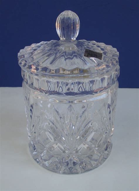 vintage  lead crystal canister candy jar dish