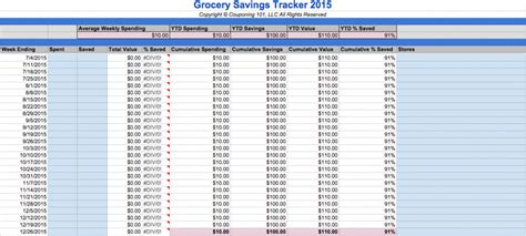 Grocery Spreadsheet by Free Grocery And Coupon Savings Spreadsheet