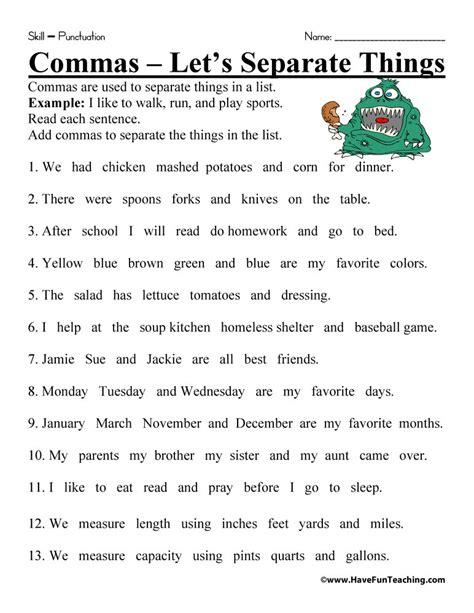 worksheets for teaching commas comma worksheet teaching