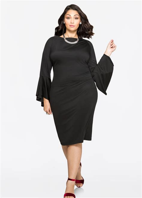 Sleeve Dress plus size boat neck bell sleeve dress 010 gss369672