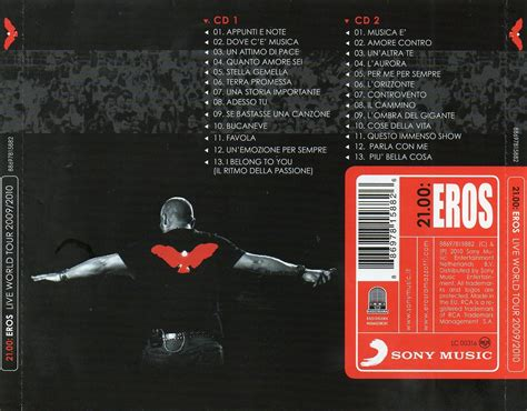 21 00 eros live world tour 2009 2010 copertina cd eros ramazzotti 21 00 eros live world tour