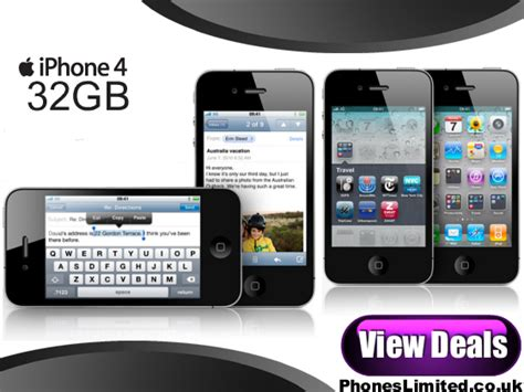 Hp Iphone 4 32gb 32gb iphone 4 on o2 new iphone4 deals phones limited