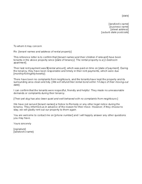 Rental Letter To Tenant Reference Letter To Tenant From Landlord Free