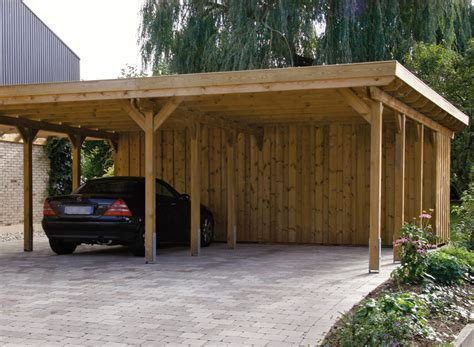 Two Car Carport Kits Wood Carports Flat Roof Sloping Roof Braun W 252 Rfele