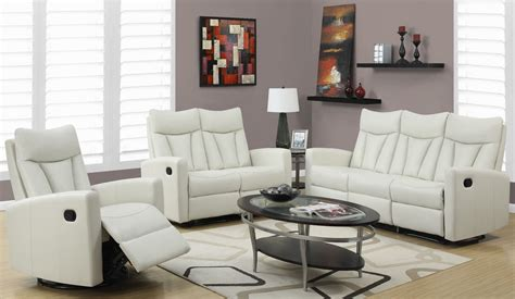 3 reclining living room set 87iv 3 ivory bonded leather reclining living room set