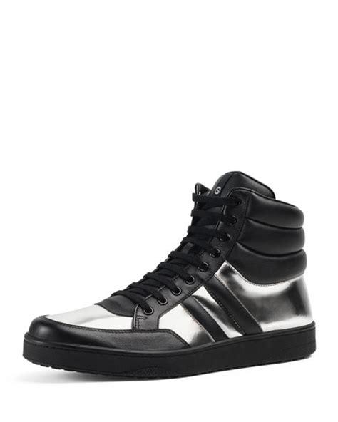gucci leather high top sneaker black gucci contrast padded leather high top sneaker silver black