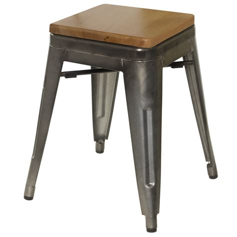 Just Stools by Chairs Galvanized Gunmetal Steel Stool