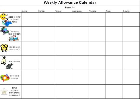 allowance chart template 9 best images about allowance charts on