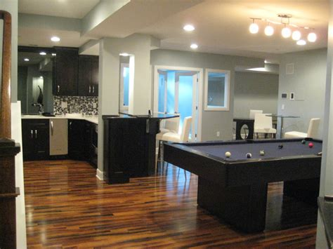 modern basement design full finished modern basement with pool table wet bar