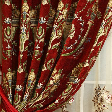 floral thermal curtains noble red floral jacquard chenille thermal curtains