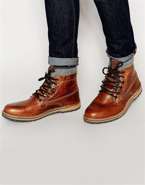 aldo prearia leather boots in brown for lyst