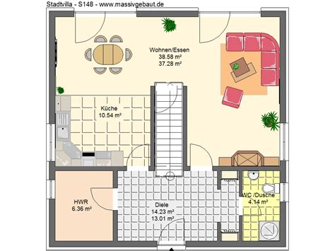 rhader hausbau grundriss einfamilienhaus mit gerader treppe