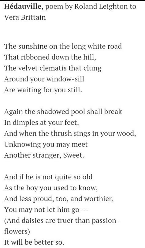Testament Of Youth A Poem By Roland Leighton Written To