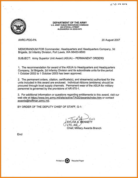 army appointment letter template 7 army memorandum template pdf teller resume