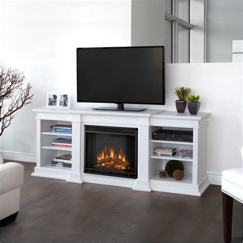 real fresno electric fireplace tv stand in white