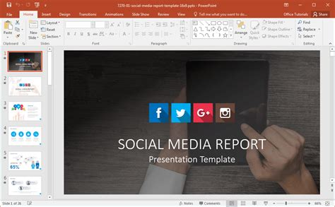 Powerpoint Templates Media Card by Social Media Powerpoint Template
