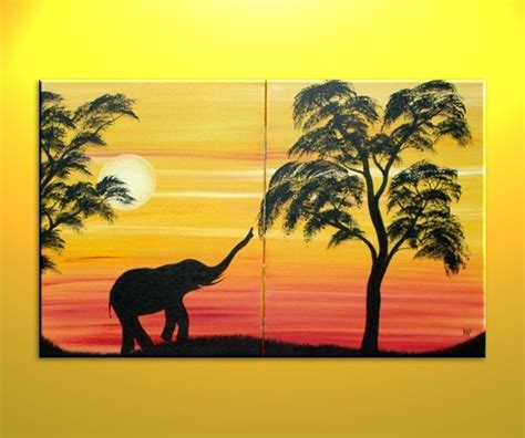 african elephant silhouette painting sunset tree art