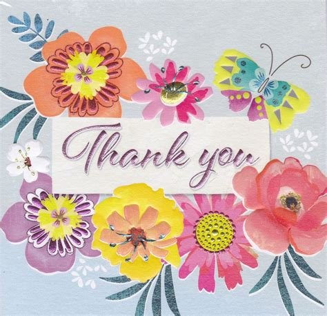 Thank You Flowers by Flowers Butterfly Thank You Card Karenza Paperie