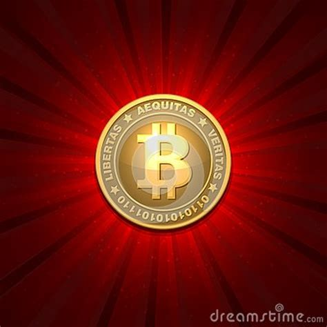 bitcoin red bitcoin on red background stock image image 35745431