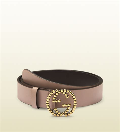 gucci light pink leather belt with studded interlocking g