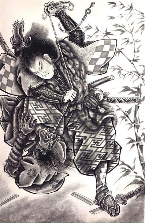 japanese fighting traditional japanese samurai drawings