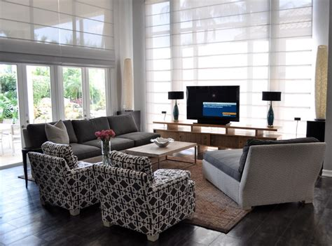 placing tv in front of window south florida family estate modern family room other metro by greeson fast design