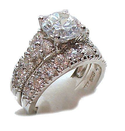 antique style white gold sterling cz wedding engagement