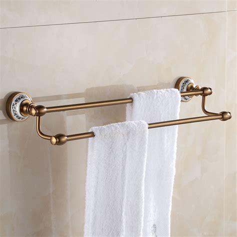 Bathroom Fixtures Towel Bars European Space Aluminum Antique Towel Rack Brushed Porcelain Towel Bars 2 Layers Wall Mounted