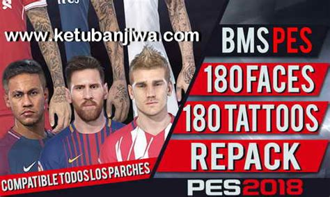tattoo repack 2017 pes 2018 180 faces tattoos repack by bms