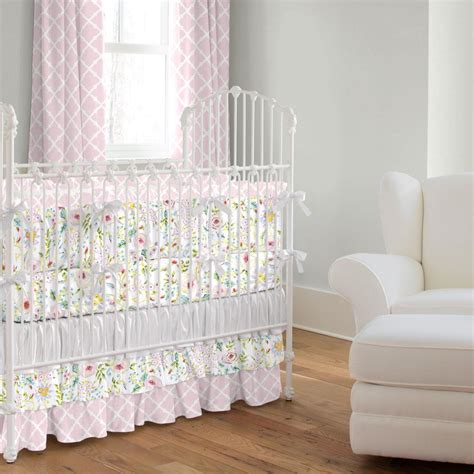 Pink And Gray Primrose Crib Bedding Carousel Designs Crib Bedding Pink And Grey