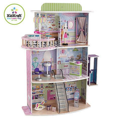 dolls house mall kidkraft 3 floor girls doll fashion shopping mall spree center barbie house wood