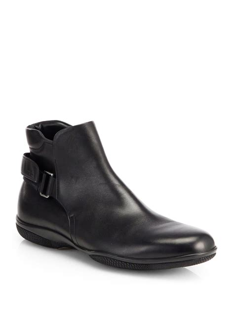prada mens ankle boots prada calfskin leather ankle boots in black for lyst