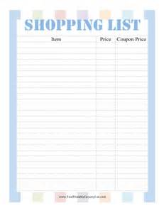 printable shopping list with coupons