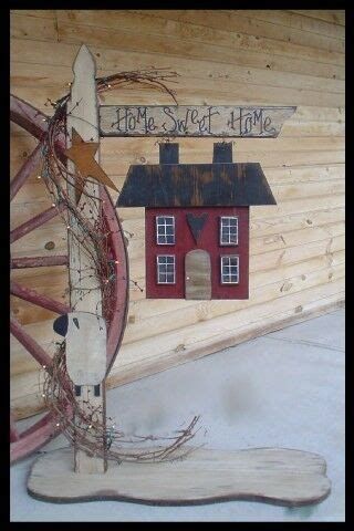 primitive wood craft pattern lighted home sweet home post