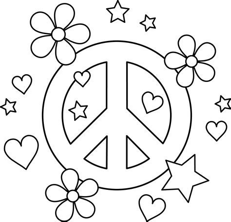 Peace Coloring Pages Colorable Peace Sign Design Free Clip Art
