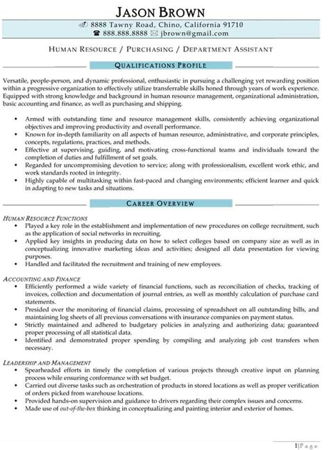 Resume Sles For Human Resources Assistant Human Resources Resume Exles Resume Professional Writers