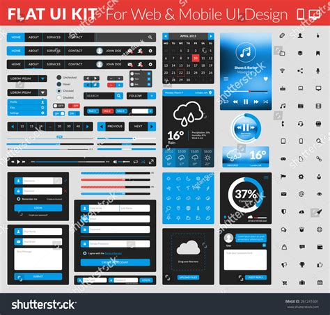 flat design ui elements set flat design ui elements website stock vector 261241601