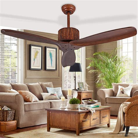 Living Room Without Ceiling Lights European Modern Wooden Ceiling Fan With Remote
