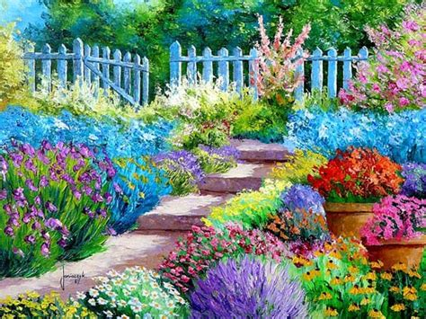 Bright Garden Flowers An Brush With A Palette Knife Artist From Provence Landscape Paintings By Jean Marc