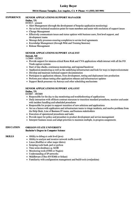 application support experience resume format senior applications support resume sles velvet